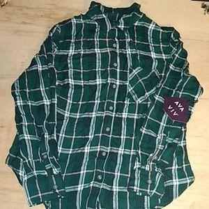 AVA & VIV green button down shirt